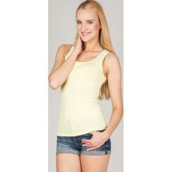 Bluzka basic bokserka jasnożółta. Żółte bluzki z odkrytymi ramionami Yups, l, z bawełny, młodzieżowe. Za 29,99 zł.
