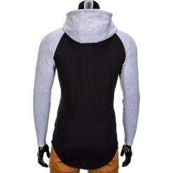 BLUZA MĘSKA Z KAPTUREM B675 - CZARNA. Czarne bluzy męskie rozpinane marki Ombre Clothing, m, z bawełny, z kapturem. Za 49,00 zł.