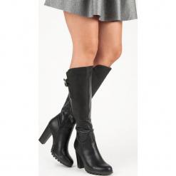 KLASYCZNE KOZAKI NA OBCASIE. Czarne buty zimowe damskie marki CM Paris, na obcasie. Za 128,00 zł.