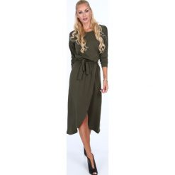 Sukienki: Sukienka z kopertowym dołem khaki 40050