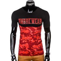 T-SHIRT MĘSKI Z NADRUKIEM S1008 - CZERWONYMORO. Czarne t-shirty męskie z nadrukiem marki Ombre Clothing, m, z bawełny, z kapturem. Za 35,00 zł.