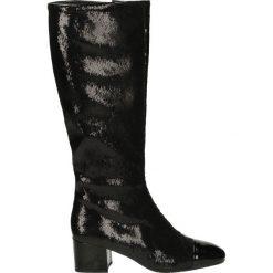 Kozaki - 6680A NAP NER. Czarne buty zimowe damskie marki Venezia, z materiału, na obcasie. Za 389,00 zł.