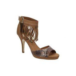 Sandały Tamaris  SANDAŁY  1-28393-36. Szare sandały damskie marki Tamaris, z materiału, z okrągłym noskiem. Za 159,99 zł.