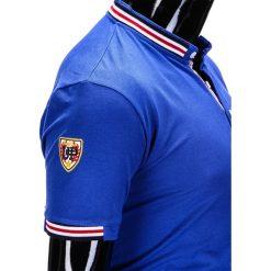 KOSZULKA MĘSKA POLO Z NADRUKIEM S849 - NIEBIESKA. Niebieskie koszulki polo Ombre Clothing, m, z aplikacjami. Za 29,00 zł.