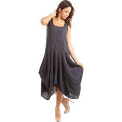Sukienki: Lniana sukienka w kolorze granatowym