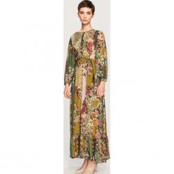 Sukienka z domieszką jedwabiu - Wielobarwn. Brązowe sukienki z falbanami Reserved. Za 349,99 zł.