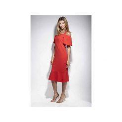 Sukienka Sophie klasyczna czerwień elegancka. Czerwone sukienki balowe DOROTHÉ, na spotkanie biznesowe, m, z falbankami. Za 499,00 zł.