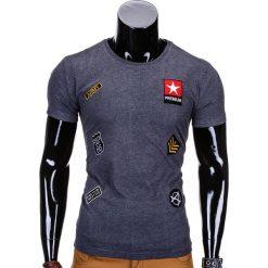 T-SHIRT MĘSKI Z NADRUKIEM S818 - GRAFITOWY. Szare t-shirty męskie z nadrukiem Ombre Clothing, m. Za 45,00 zł.