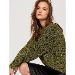 Kardigany damskie: Sweter z dekoltem z tyłu – Żółty