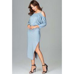 Niebieska Asymetryczna Sukienka z Kimonowym Rękawem. Szare sukienki asymetryczne marki Mohito, l, z asymetrycznym kołnierzem. Za 159,90 zł.