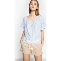 Bluzki asymetryczne: Bluzka, okrągły dekolt, nadruk, krótki rękaw