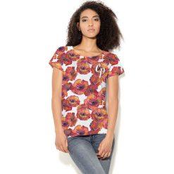 Colour Pleasure Koszulka damska CP-034  279 biało-czerwono-pomarańczowa r. XL-XXL. Fioletowe bluzki damskie marki Colour pleasure, uniwersalny. Za 70,35 zł.