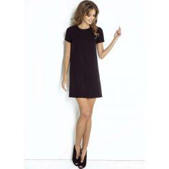 Wizytowa Trapezowa Sukienka z Krótkim Rękawem. Czarne sukienki koktajlowe marki Molly.pl, l, z krótkim rękawem, mini, trapezowe. Za 199,90 zł.