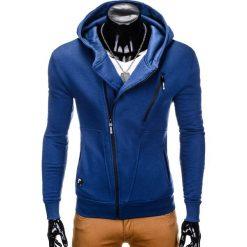 BLUZA MĘSKA ROZPINANA Z KAPTUREM B738 - GRANATOWA. Niebieskie bluzy męskie rozpinane marki Ombre Clothing, m, z bawełny, z kapturem. Za 69,00 zł.
