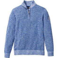 Sweter ze stójką Regular Fit bonprix niebiesko-biały melanż. Niebieskie golfy męskie marki bonprix, l, z aplikacjami, z dzianiny. Za 74,99 zł.