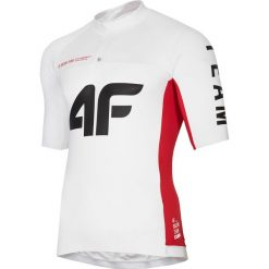 Koszulka rowerowa męska RKM151 - biały. Białe odzież rowerowa męska 4f, m, z elastanu, rowerowe. Za 179,99 zł.