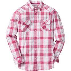 Koszula z kory Regular Fit bonprix biało-różowy w kratę. Białe koszule męskie na spinki marki bonprix, z klasycznym kołnierzykiem, z długim rękawem. Za 44,99 zł.