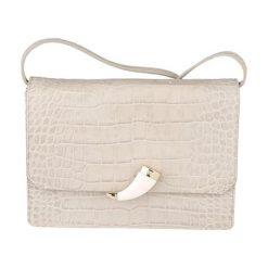 Torebki klasyczne damskie: Skórzana torebka w kolorze piaskowym – (S)24 x (W)17 x (G)6 cm