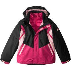 Kurtka ocieplana 3 w 1 bonprix jeżynowo-czerwony wzorzysty. Szare kurtki dziewczęce marki DOMYOS, z elastanu, z kapturem. Za 89,99 zł.