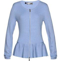 Sweter rozpinany z baskinką bonprix perłowy niebieski. Niebieskie kardigany damskie marki bonprix. Za 89,99 zł.
