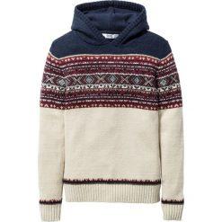 Sweter dzianinowy z kapturem bonprix naturalny melanż. Białe swetry chłopięce marki bonprix, m, melanż, z dzianiny, z kapturem. Za 74,99 zł.