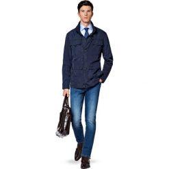 Kurtka Granatowa Moa. Niebieskie kurtki męskie jeansowe marki LANCERTO, l, klasyczne. W wyprzedaży za 559,90 zł.