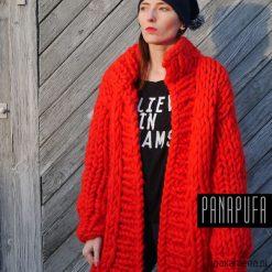 Płaszcze damskie: cardigan damski, wełniany płaszcz na drutach