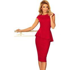 Czerwona Elegancka Ołówkowa Sukienka Midi z Asymetryczną Baskinką. Białe sukienki asymetryczne marki Top Secret. Za 153,90 zł.