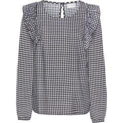 Bluzki damskie: Bluzka z falbanami bonprix czarno-biały w kratę
