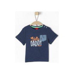 S.Oliver T-Shirt Chłopięcy 80, Niebieski. Niebieskie t-shirty chłopięce z krótkim rękawem S.Oliver, z aplikacjami, z bawełny. Za 40,00 zł.