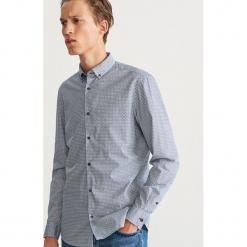 Wzorzysta koszula slim fit - Turkusowy. Białe koszule męskie slim marki Reserved, l, z dzianiny. Za 119,99 zł.