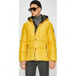 Calvin Klein - Kurtka puchowa. Pomarańczowe kurtki męskie bomber Calvin Klein, m, z materiału, z kapturem. Za 1149,00 zł.