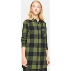 Koszulowa sukienka w kratę - Khaki. Brązowe sukienki marki Cropp, l, z koszulowym kołnierzykiem, koszulowe. Za 69,99 zł.
