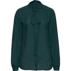 Bluzka z krawatką bonprix głęboki zielony. Zielone bluzki wizytowe marki bonprix, eleganckie. Za 54,99 zł.