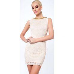 Sukienka koronkowa krótka beżowa G5283. Czerwone sukienki mini marki Fasardi, l. Za 89,00 zł.