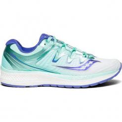 Buty sportowe w kolorze biało-turkusowym. Białe buty sportowe damskie Saucony, z materiału. W wyprzedaży za 363,95 zł.