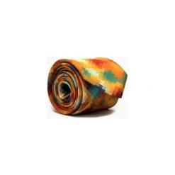 KRAWAT MUSTARD PIXEL. Brązowe krawaty męskie Marthu, w kolorowe wzory, z satyny. Za 129,00 zł.