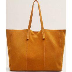 Mango - Torebka skórzana Chapas. Pomarańczowe shopper bag damskie Mango, z materiału, do ręki, duże, zamszowe. Za 159,90 zł.