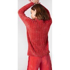 Swetry oversize damskie: NA-KD Szenilowy sweter oversize – Red