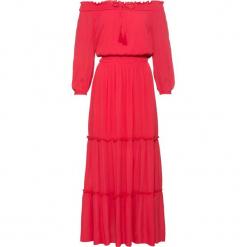 """Sukienka z dekoltem """"carmen"""" bonprix czerwony. Czerwone sukienki letnie bonprix, z kołnierzem typu carmen. Za 149,99 zł."""