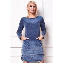 Sukienka a'la jeans a165. Niebieskie sukienki koronkowe marki SaF, na co dzień, xl, z asymetrycznym kołnierzem, dopasowane. Za 189,90 zł.