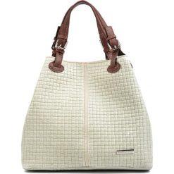 Torebki klasyczne damskie: Skórzana torebka w kolorze beżowym – (S)36 x (W)30 x (G)17 cm