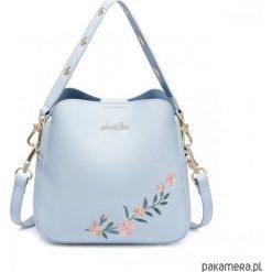 JUST STAR Niebieski kuferek z motywem kwiatowym. Niebieskie kuferki damskie marki Pakamera, z materiału, na ramię. Za 219,00 zł.