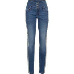 """Dżinsy z metalicznymi paskami bonprix niebieski """"stone"""". Zielone jeansy damskie marki bonprix, w kropki, z kopertowym dekoltem, kopertowe. Za 99,99 zł."""