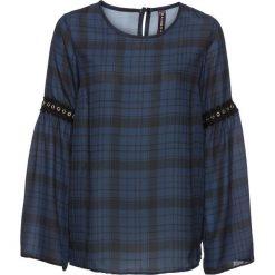 Bluzka w kratę z ćwiekami bonprix ciemnoniebiesko-szary w kratę. Niebieskie bluzki asymetryczne bonprix. Za 49,99 zł.