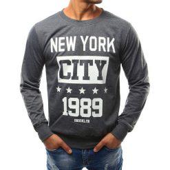 Bluzy męskie: Bluza męska z nadrukiem antracytowa (bx3344)