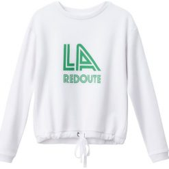 Bluza z logo La Redoute w stylu vintage. Szare bluzy damskie marki La Redoute Collections, m, z bawełny, z kapturem. Za 102,86 zł.