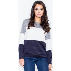 Bluzy damskie: Granatowo-biała Klasyczna Prosta Pikowana Bluza