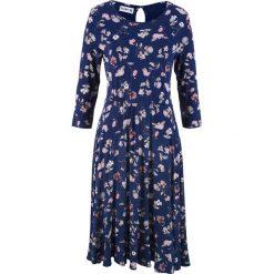 Sukienka w kwiaty, rękawy 3/4, z kolekcji Maite Kelly bonprix kobaltowy w kwiaty. Niebieskie sukienki z falbanami marki bonprix, w kwiaty. Za 99,99 zł.