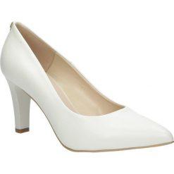 Czółenka ślubne ecru skórzane na słupku Casu 7060/1230. Szare buty ślubne damskie marki Casu, na słupku. Za 248,99 zł.